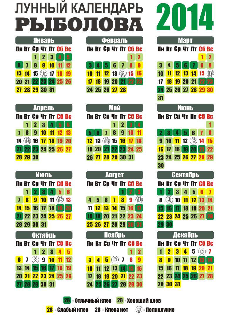 календарь рыбака волгоградская область 2017 по месяцам